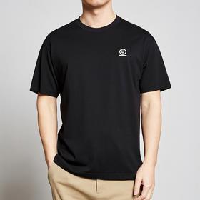墨麦客男装2020夏季黑色圆领刺绣短袖T恤男士落肩半袖体恤衫7357