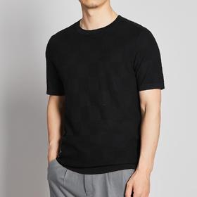 墨麦客男装2020夏季新款格子圆领短袖T恤男士桑蚕丝体恤衫潮7731