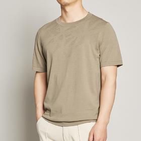 墨麦客男装2020夏季新款圆领短袖针织T恤男士桑蚕丝镂空体恤7727