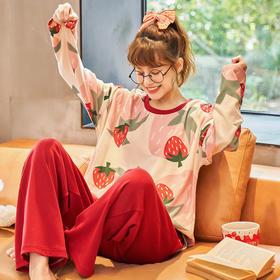 润微家居服秋冬纯棉面料休闲时尚草莓圆领长袖长裤套装舒适可外穿 清香草莓 yjdf
