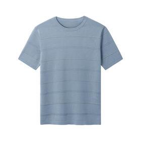 墨麦客男装2020年夏款桑蚕丝针织短袖T恤 圆领提花男士体恤衫7735
