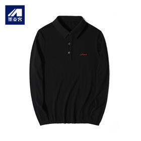 墨麦客男装时尚刺绣针织POLO衫 2019秋季新款贝壳扣长袖T恤男2090