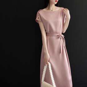PDD-ZHL200726夏季收腰显瘦粉色名媛气质长裙TZF