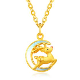 黄金吊坠女 999足金麋鹿项链3D硬金月亮挂坠珐琅套链
