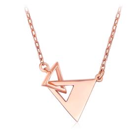 18K金项链彩金玫瑰金三角形套链生日礼物送女友