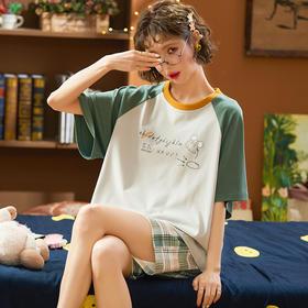 润微新品女家居服可爱甜美短袖睡衣棉质夏季款多款可外穿套装 抹绿仙踪 yjdf