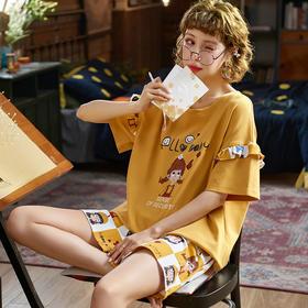 润微新品女家居服可爱甜美短袖睡衣棉质夏季款多款可外穿套装 雀斑少女 yjdf