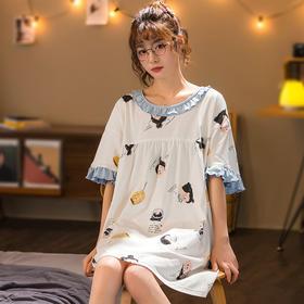 润微新品女家居服长款睡裙可爱甜美短袖睡衣棉质夏季款多可外穿 元气节奏 yjdf