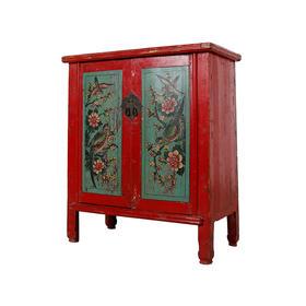 二门画柜红漆柜小柜子Cabinet