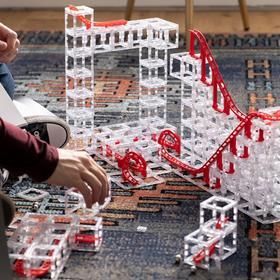 【5岁+】DesignNest 过山车滚珠轨道积木!磁力模块化设计,自由拼搭,空间想象力、动手能力,易拼搭,易拆卸,百变造型,环保材质!