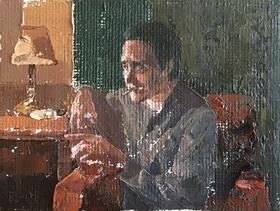 油画《这个家伙》归田 6×8cm