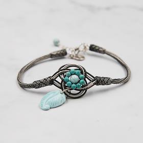 时尚绿松石手链、土耳其手工编织银绳