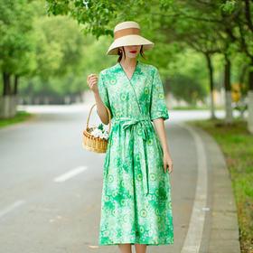 复古文艺,中袖长款棉麻苎麻连衣裙LT-036-2