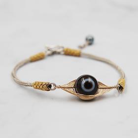 时尚天珠手链、项链 土耳其手工编织银绳