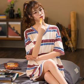 润微女家居服长款睡裙条纹短袖睡衣棉质夏季款可外穿 芳菲燕影 yjdf