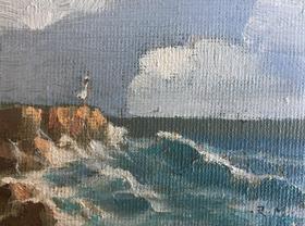 油画《在水一方》归田 6×8cm