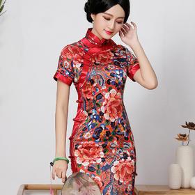 日常复古,高端改良时尚真丝中长款旗袍QC-1697448