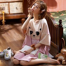 润微女家居服长款睡裙国宝熊猫短袖睡衣棉质夏季款可外穿 倩影嫣然 yjdf