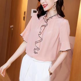 时尚荷叶边,纯色桑蚕丝衬衫ML-ML220510
