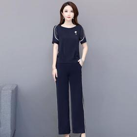 修身显瘦,短袖气质减龄雪纺衫休闲长裤两件套YW-XQD-MB28-B