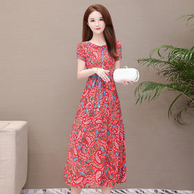 印花时尚,中长款气质优雅连衣裙YW-JJ-8991
