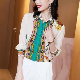 时尚撞色印花,桑蚕丝真丝衬衫ML-ML220511