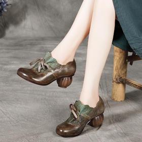 原创民族风,头层牛皮复古手工真皮粗跟文艺单鞋BC-1983-3255