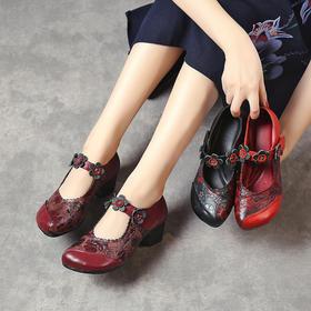 复古民族风,浅口真皮花朵纯手工单鞋MLD-8216