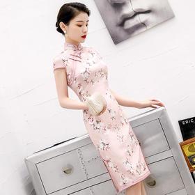 优雅修身,复古改良中长款真丝旗袍HX-Q162