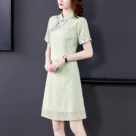 AHM-mmjp8110夏季绿色提花优雅旗袍TZF
