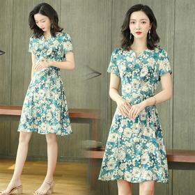 高端气质,舒适短袖真丝连衣裙ASE-2260