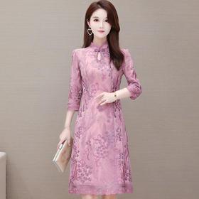 复古立领,长袖气质改良版刺绣连衣裙YW-KED91285