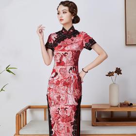 个性优雅,真丝长款手工盘扣旗袍礼服QC-1697813