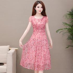 气质减龄,修身短袖时尚印花连衣裙YW-TB-MLN8978