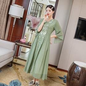 时尚舒适,新中式花纹刺绣V领连衣裙LX-20066