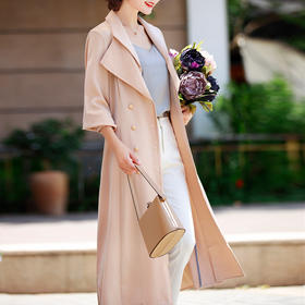 优雅舒适,西装领双排扣灯笼袖纯色长款醋酸风衣外套NYT-XM8887