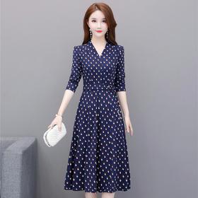 修身显瘦,V领中长款波点时尚优雅连衣裙YW-TBEZ20151A