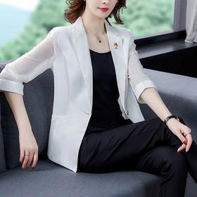 休闲一粒扣开衫上衣,七分袖西装短外套HT- MMZ9507