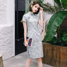 改良修身日常,苎麻中长款小清新旗袍HX-Q105
