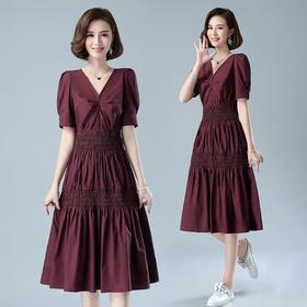 赫本风法式小众,V领泡泡袖设计感连衣裙HR-BYJG3923