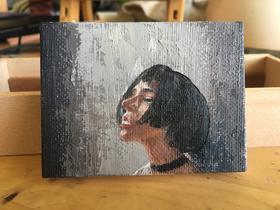 油画《废话太多》归田 6×8cm