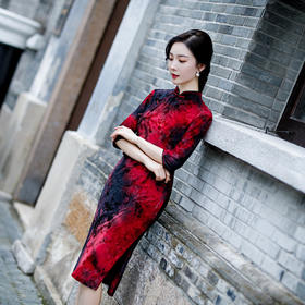 时尚修身,收腰植绒扎染短款旗袍HZJ-6803