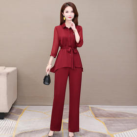 气质优雅,修身长袖衬衫+休闲长裤时尚两件套YW-KSF20A138