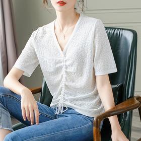 宽松舒适,短袖薄款短款抽绳冰丝针织衫CC-AB17115