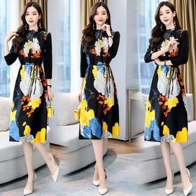 时尚气质,轻熟风复古印花连衣裙HR-HBLJR8219-1