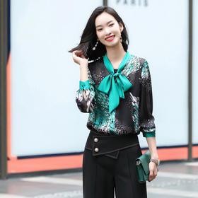 洋气时尚,蝴蝶结雪纺长袖气质衬衣套装QL-HYN-2037