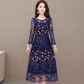 修身时尚,长袖气质高贵刺绣连衣裙YW-KED91291