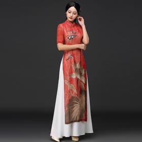 时尚修身,日常改良冰丝皱弹力优雅复古旗袍DNS-A2011