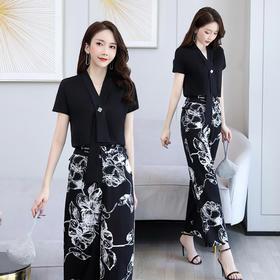 时尚V领,印花潮流气质优雅薄款套装HR-LSNY2013