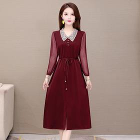 气质减龄,修身娃娃领长袖连衣裙YW-KSF20A137